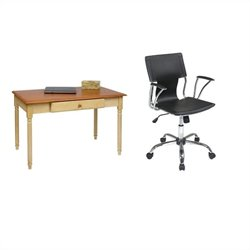 Wood Writing Desk and Dorado Vinyl Office Chair