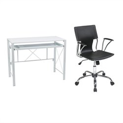 Desk in White with Dorado Vinyl Office Chair