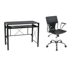 Desk in Black with Dorado Vinyl Office Chair