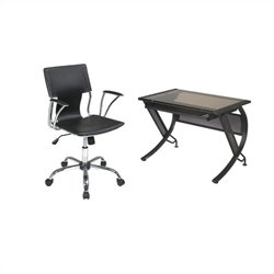Desk with Keyboard and Dorado Vinyl Office Chair