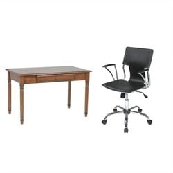 Wood Laptop Desk and Dorado Vinyl Office Chair