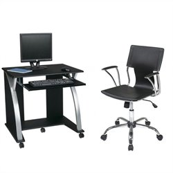 Office Star Saturn Computer Desk Black PVC Veneer and Dorado Vinyl Office Chair