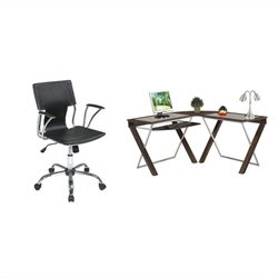 L-Shape Glass Top Wood Computer Desk and Dorado Vinyl Office Chair