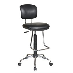 Drafting Chair with Footrest in Black