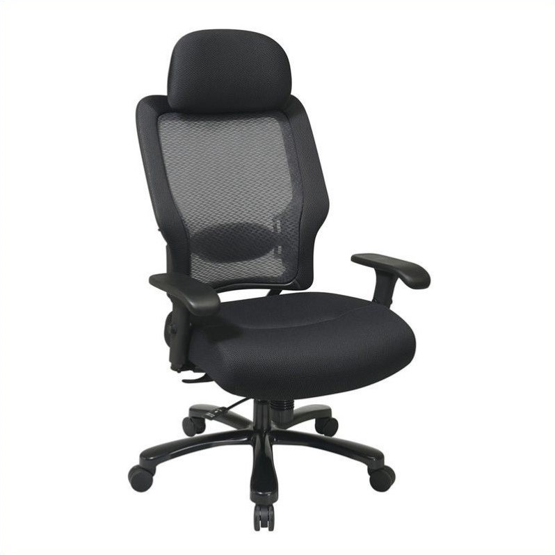 AirGrid Back and Black Mesh Office Chair in Black