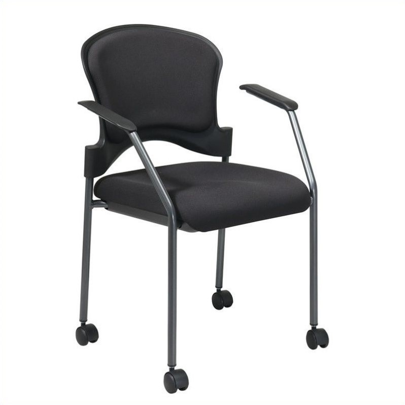 Rolling Guest Chair With Arms And Casters In Black 82740 30