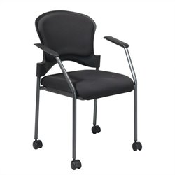 Rolling Guest Chair with Arms and Casters in Black