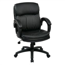 Mid Back Eco Leather Executive Office Chair in Black