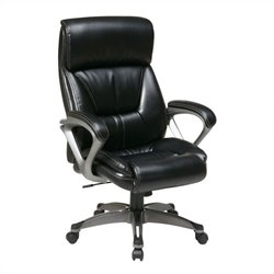 Eco Leather Office Chair with Padded Arms in Black