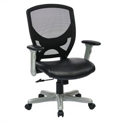 Woven Mesh Back Office Chair in Silver and Black