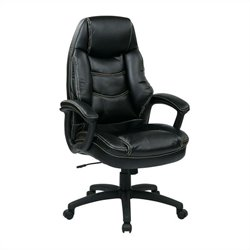 Executive Faux Leather Office Chair in Black