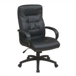 High Back Faux Leather Executive Office Chair in Black