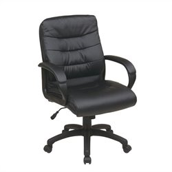 Mid Back Faux Leather Executive Office Chair in Black