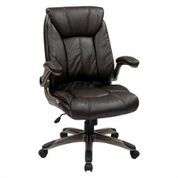 Faux Leather Mid Back Managers Office Chair in Cocoa