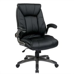 Faux Leather Mid Back Managers Office Chair in Black