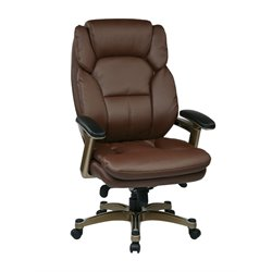 Office Star OPH Series Eco Leather Chair in Cocoa and Wine
