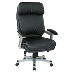 Office Star OPH Series Eco Leather Chair in Silver and Black