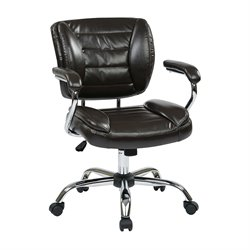 Office Star Work Smart Faux Leather Office Chair in Espresso