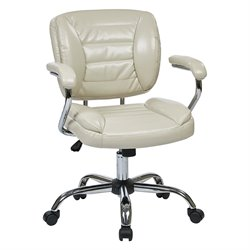 Office Star Work Smart Faux Leather Office Chair in Cream