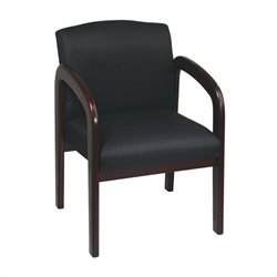 Wood Visitor Guest Chair in Black and Mahogany