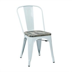 Metal Dining Chair in White and Ash (Set of 4)