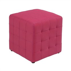 Fabric Ottoman Cube in Pink