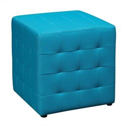 Fabric Ottoman Cube in Blue