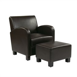Office Star Metro Faux Leather Club Chair with Ottoman in Espresso