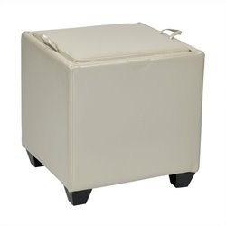 Office Star Metro Storage Ottoman with Tray in Cream