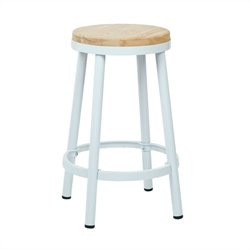 Metal Backless Bar Stool in White