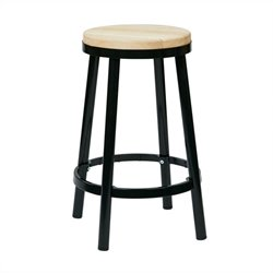 Metal Backless Bar Stool in Black