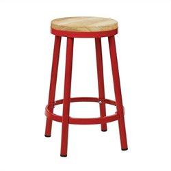 Metal Backless Bar Stool in Red