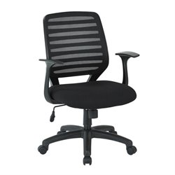 Office Star Work Smart Screen Back Task Chair with T Arms in Black