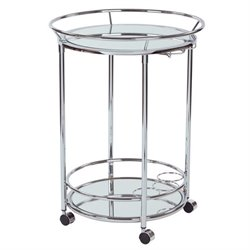 Round Serving Cart in Chrome