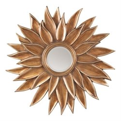 Beveled Sun Flower Wall Mirror in Gold