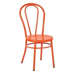 Metal Patio Dining Chair in Solid Orange (Set of 2)