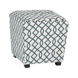 Office Star Metro 2 Piece Ottoman Set with Tray Top in Jason Geo Blue