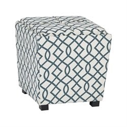 2 Piece Ottoman Set with Tray Top in Jason Geo Blue