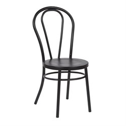 Metal Patio Dining Chair in Solid Black (Set of 2)
