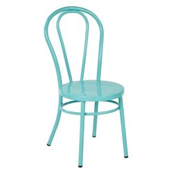 Metal Patio Dining Chair in Pastel Teal (Set of 2)