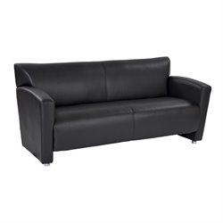 Faux Leather Sofa in Black