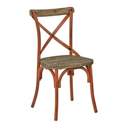 Metal Dining Chair with Wood Seat in Orange