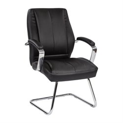 Deluxe Faux Leather Guest Chair in Black