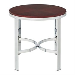 Metal End Table with Cherry Finish Top