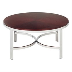 Metal Coffee Table with Cherry Finish Top