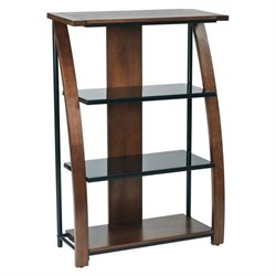 3 Shelf Bookcase With 2 Glass Shelf in Cherry
