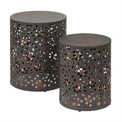 2 Piece Round Accent Tables in Rustic