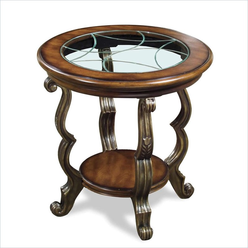Riverside Ambrosia Round End Table in Terra-Sienna