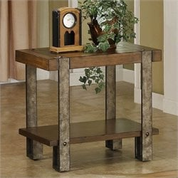 Riverside Furniture Sierra Chairside Table in Landmark Worn Oak
