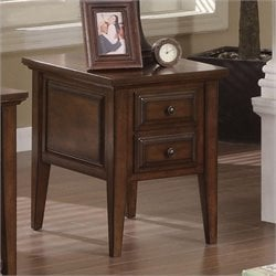 Riverside Furniture Hilborne Two Drawer End Table in Burnished Cherry